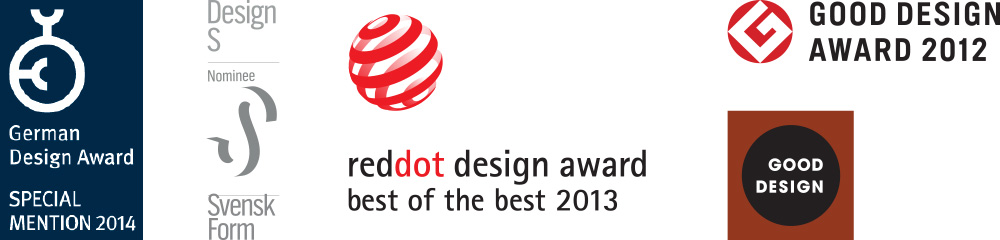 German Design Award SPECIAL MENTION 2014, Designs Nominee Svensk Form, reddot design award best of the best 2013, GOOD DESIGN AWARD 2012, GOOD DESIGN